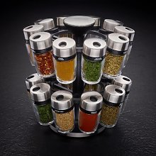 Rotating Carousel 16-Jar Free-Standing Spice Rack