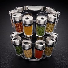Rotating Carousel 20-Jar Free-Standing Spice Rack