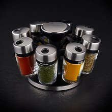 Rotating Carousel 8-Jar Free-Standing Spice Rack