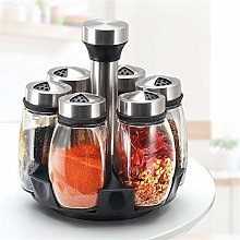 Rotating Glass Spice Rack 6 Jar Filled Set