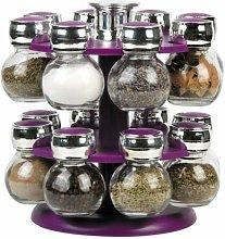Rotating Revolving Plastic 16 Jar Spice Rack