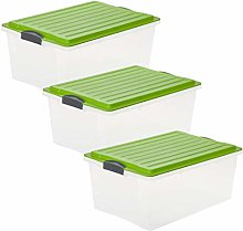 Rotho Compact Set of 3 Storage Boxes 38 Litre with