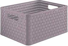 Rotho Country 18L Rattan Effect Storage Box Mauve