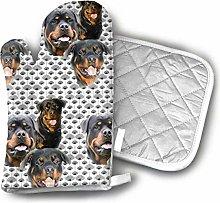 Rottweilers and Thistles Oven Mitts and Pot