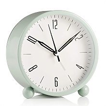 Round alarm clock without ticking, battery