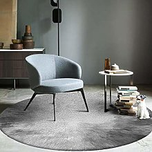 Round Area Rug 3D Simple Gray White Carpet For
