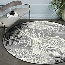 Round Area Rug Beautiful Gray White Black Feather