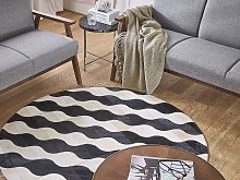 Round Area Rug Beige with Black Waves Cowhide