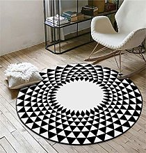 Round Area Rug Black And White Gray Triangle