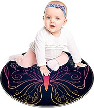 Round Area Rug Black Pink Butterfly Soft Area