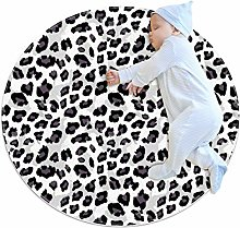 Round Area Rug Carpet Black and white gray leopard