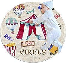 Round Area Rug Carpet circus ticket Floor Mat