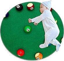 Round Area Rug Carpet pool billiard balls on green