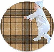 Round Area Rug Carpet Tartan brown beige seamless