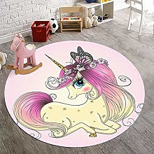 Round Area Rug Cartoon Unicorn Pink Carpet For