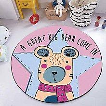 Round Area Rug Cute Cartoon Pink Whale Bear Carpet