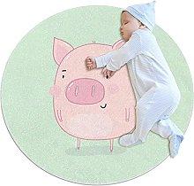 Round Area Rug Cute Pink Pig Round Mat Modern