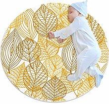 Round Area Rug,Doormats,Carpet,Autumnal Leaves
