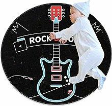 Round Area Rug,Doormats,Carpet,Black guitar rock