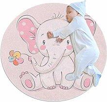 Round Area Rug,Doormats,Carpet,Pink elephant