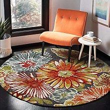 Round Area Rug Garden Big Flower Orange Carpet For