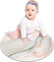 Round Area Rug Gray White Marble Soft Area Carpet