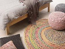 Round Area Rug Multicolour Cotton and Jute Boho