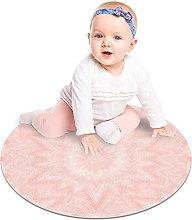 Round Area Rug Pale Pink Kaleidoscope Soft Area