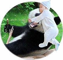 Round Area Rug Panda Eating Bamboo Round Mat