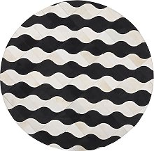 Round Area Rug Patchwork Beige with Black Waves ø