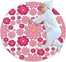 Round Area Rug Pink Flower Round Mat Modern Carpet