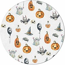 Round Area Rugs 3 ft Halloween Cartoon Pumpkin