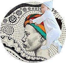 Round Area Rugs, Beautiful African Woman Turban