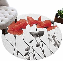 Round Area Rugs Poppy Flower Soft Comfy Circle