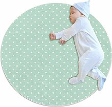 Round Area Rugs, White Polka Dots On Mint Green