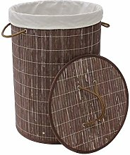 Round Bamboo Collapsible Laundry Basket (Dark
