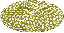 Round Bath Mat Paisley Flower in Chartreuse Green