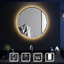 Round Bathroom Mirror Illuminated LED Light