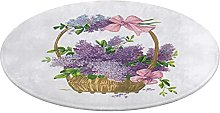Round Bathroom Rug 24 inch,Vintage Purple Lilacs