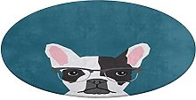 Round Bathroom Rug,Hipster Frenchie with Glasses