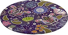 Round Bathroom Rug,Paisley Seamless Pattern with
