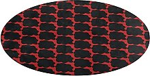 Round Bathroom Rug,Red with black spots Non-Slip