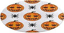 Round Bathroom Rug,Seamless Pattern with Halloween