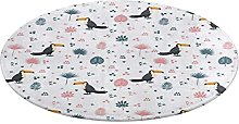Round Bathroom Rug,Seamless Pattern with Toucan