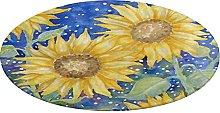 Round Bathroom Rug,Sunflowers Non-Slip Bath Mat