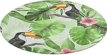 Round Bathroom Rug,Tropical Pattern with Toucans