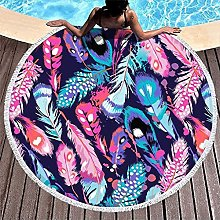 Round Beach Towel Beautiful Feathers Colorful