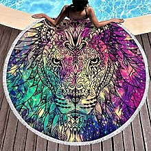 Round Beach Towel Colorful Lion Beach Towel Sand