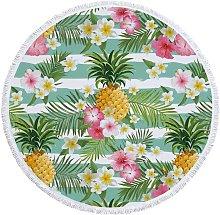 Round Beach Towel Flamingo Tapestry Microfiber