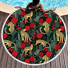 Round Beach Towel Leopards Tropical Palm Leaves